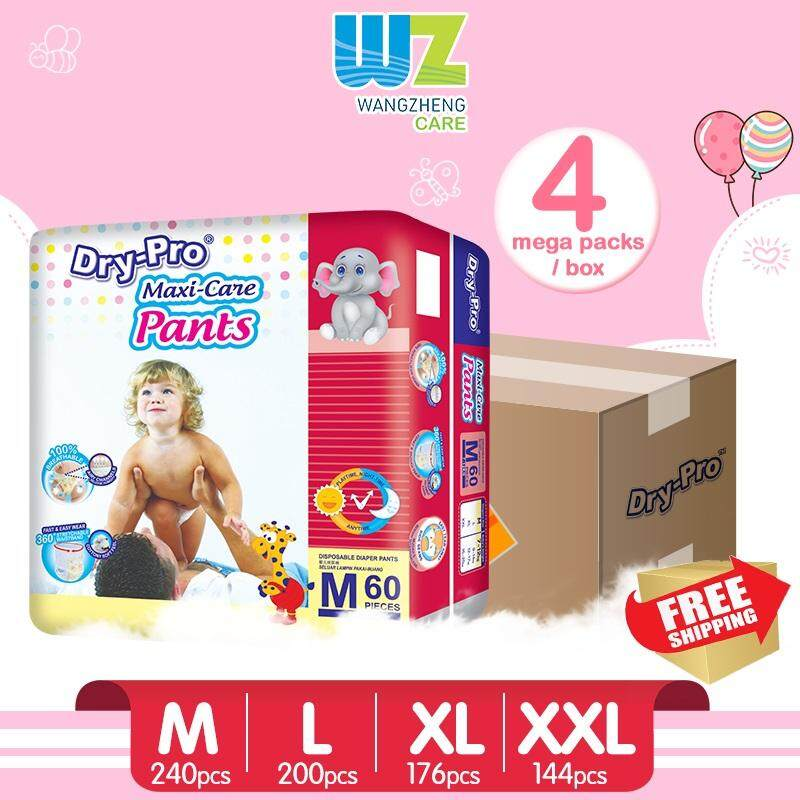 [FREE SHIPPING] Drypro Baby Pants M60/L50/XL44/XXL36 x 4 Packs [WangZheng CARE]