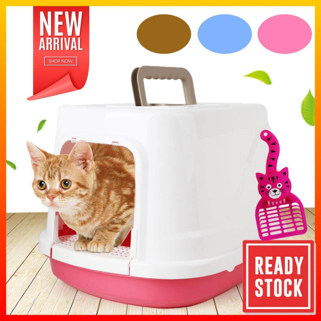 ZTI Large Full Cover Cat Litter Box Bekas Pasir Kucing (Free Scoop)