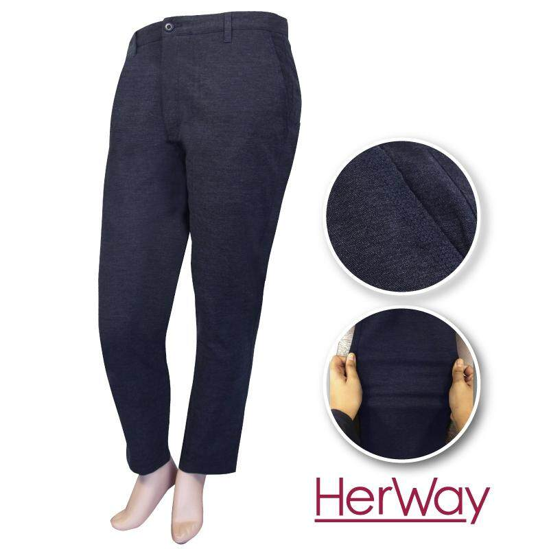 HERWAY PLUS SIZE Ladies Casual Stretch Chinos HW600002 (Dk Blue)