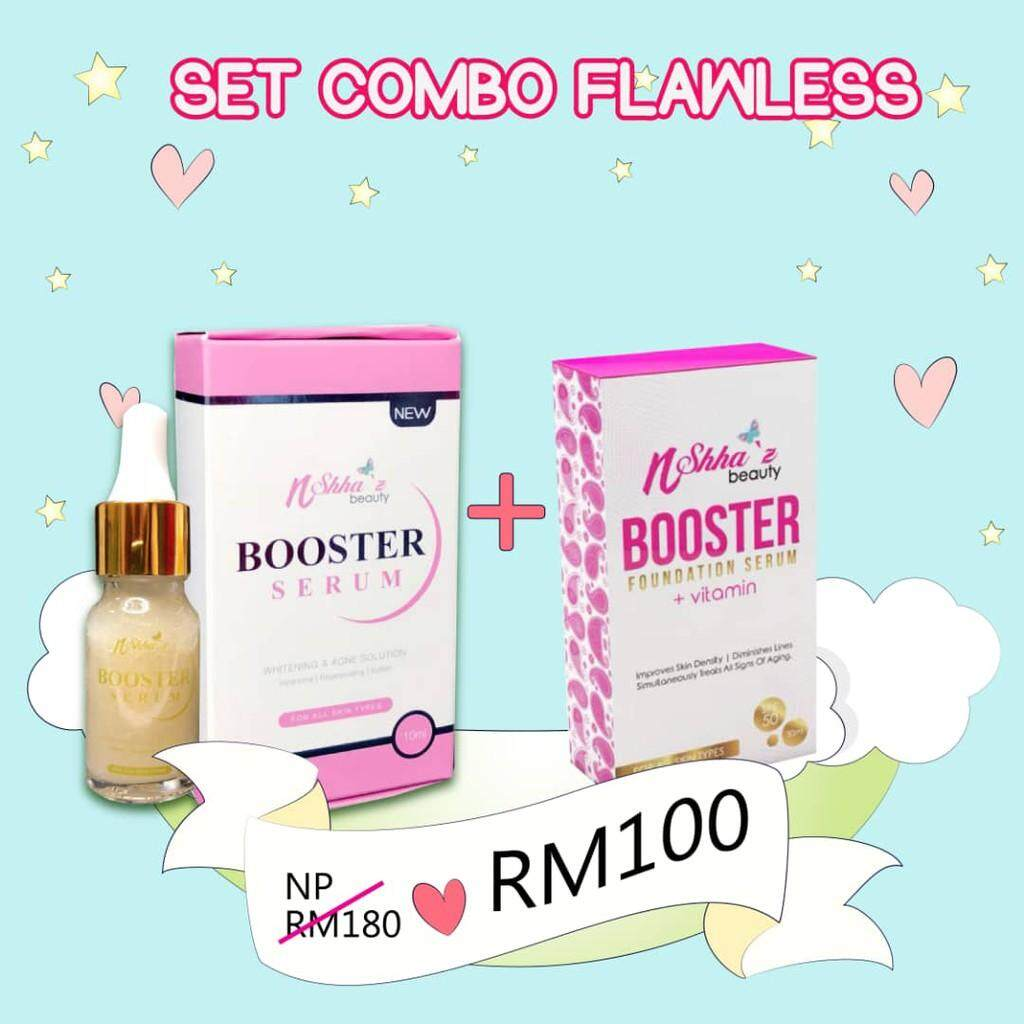 [ORIGINAL] Set Combo Flawless Shhaz Nshhaz Booster Foundation + Vitamin & Serum