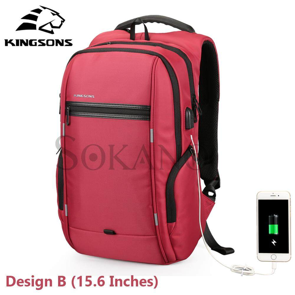 KINGSONS (Design B) KS3144W 15.6 inches City Elite Bag Designer Laptop Backpack Water-Resistant Anti-Theft Laptop Rucksack with USB Charging Port - Red