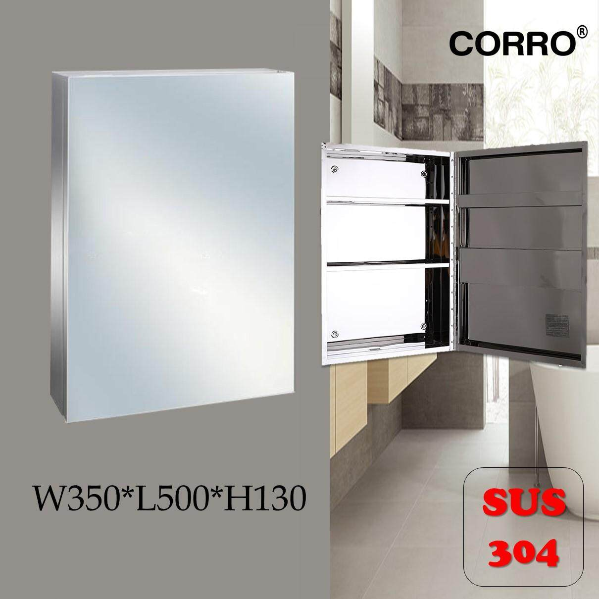 CORRO SUS304 100% Stainless Steel Bathroom Mirror Cabinet - L400*H600*W140