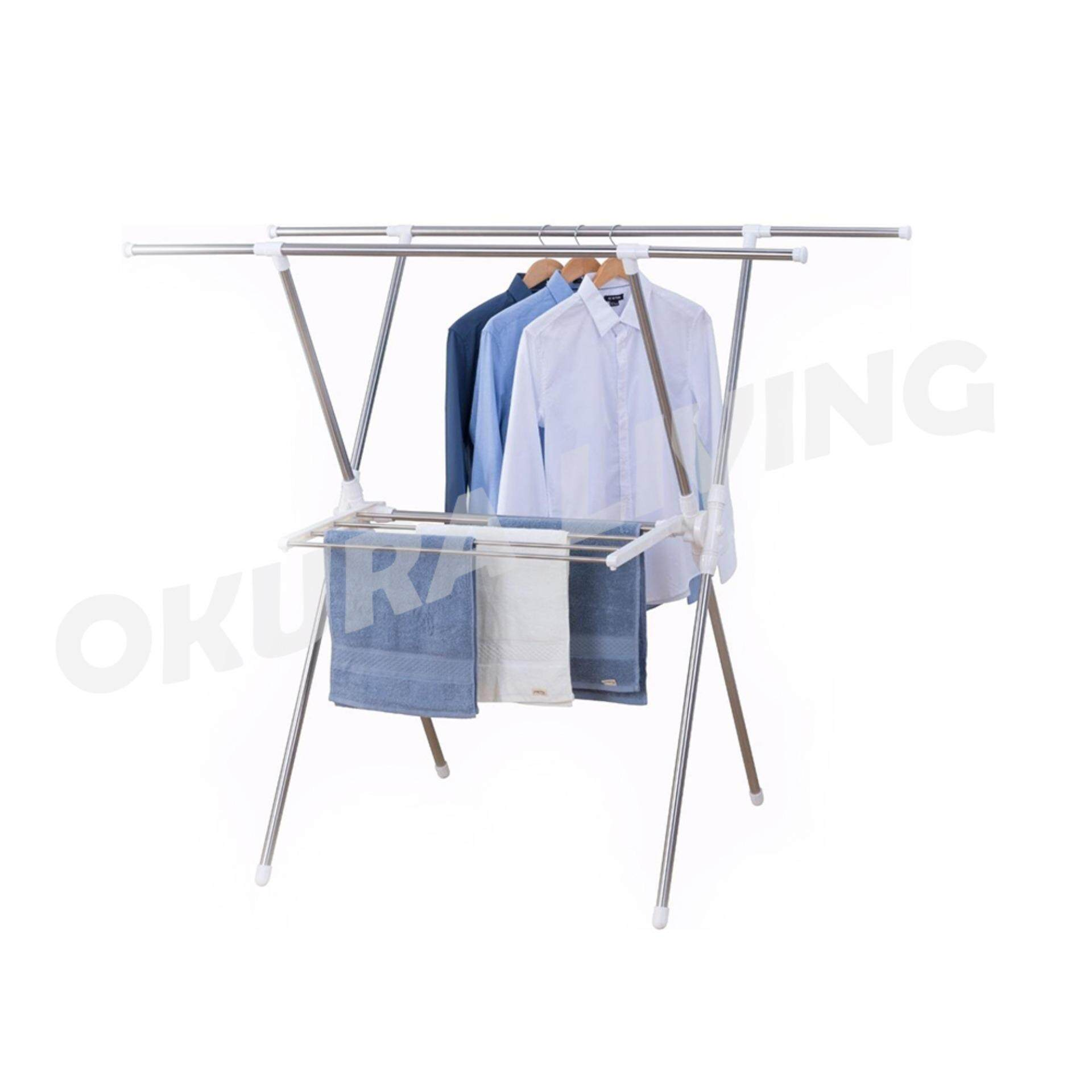 OKURA Stainless Steel Extendable X-Type Clothes Drying and Hanging Rack