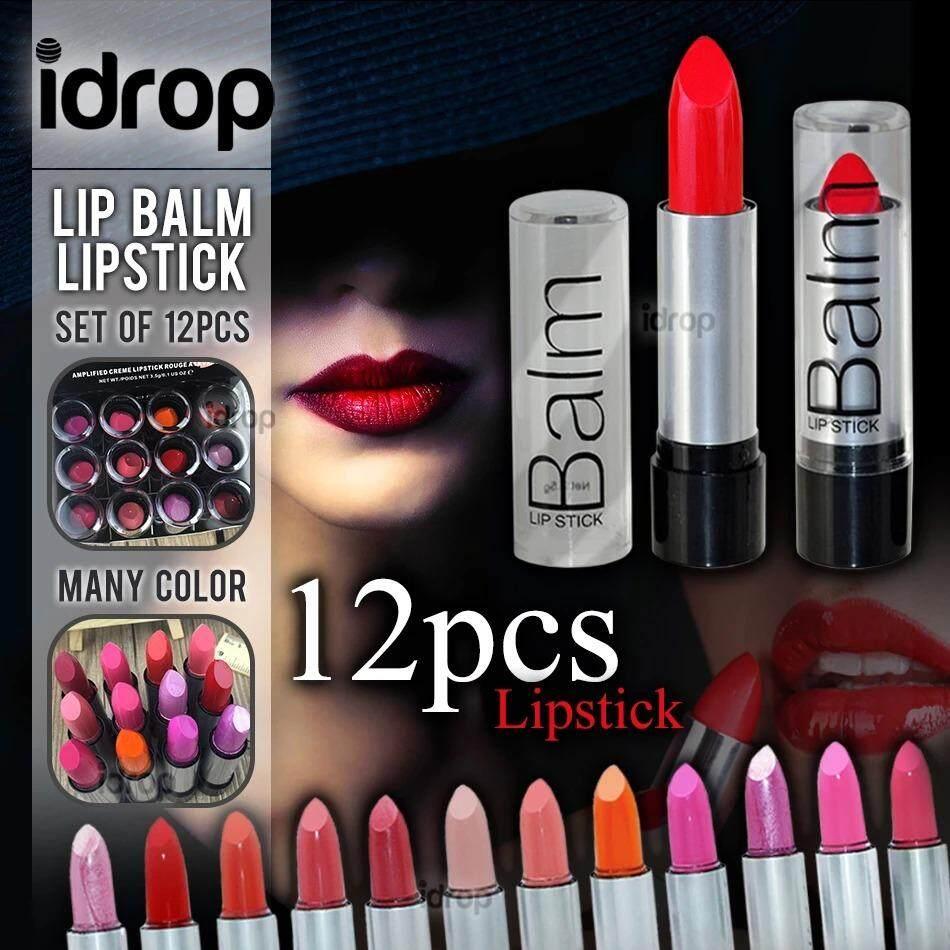 idrop 12pcs Big & Red Lipstick Beautiful Sexy Moisturizing Lip Balm Cosmetic Makeup / Set Gincu