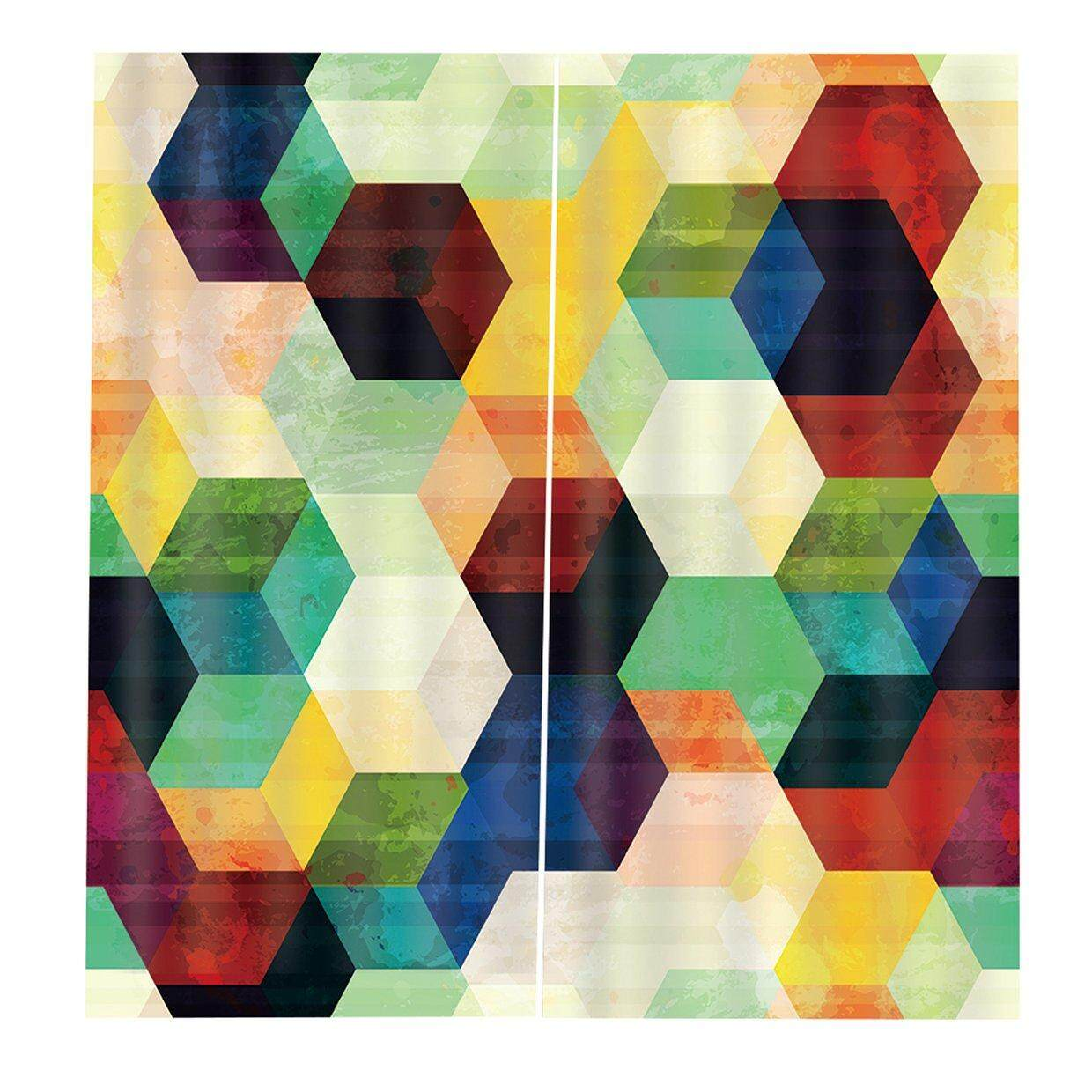 Hot Deals Colorful Hexagons Window Curtains for Living Room Bedroom Window Decoration