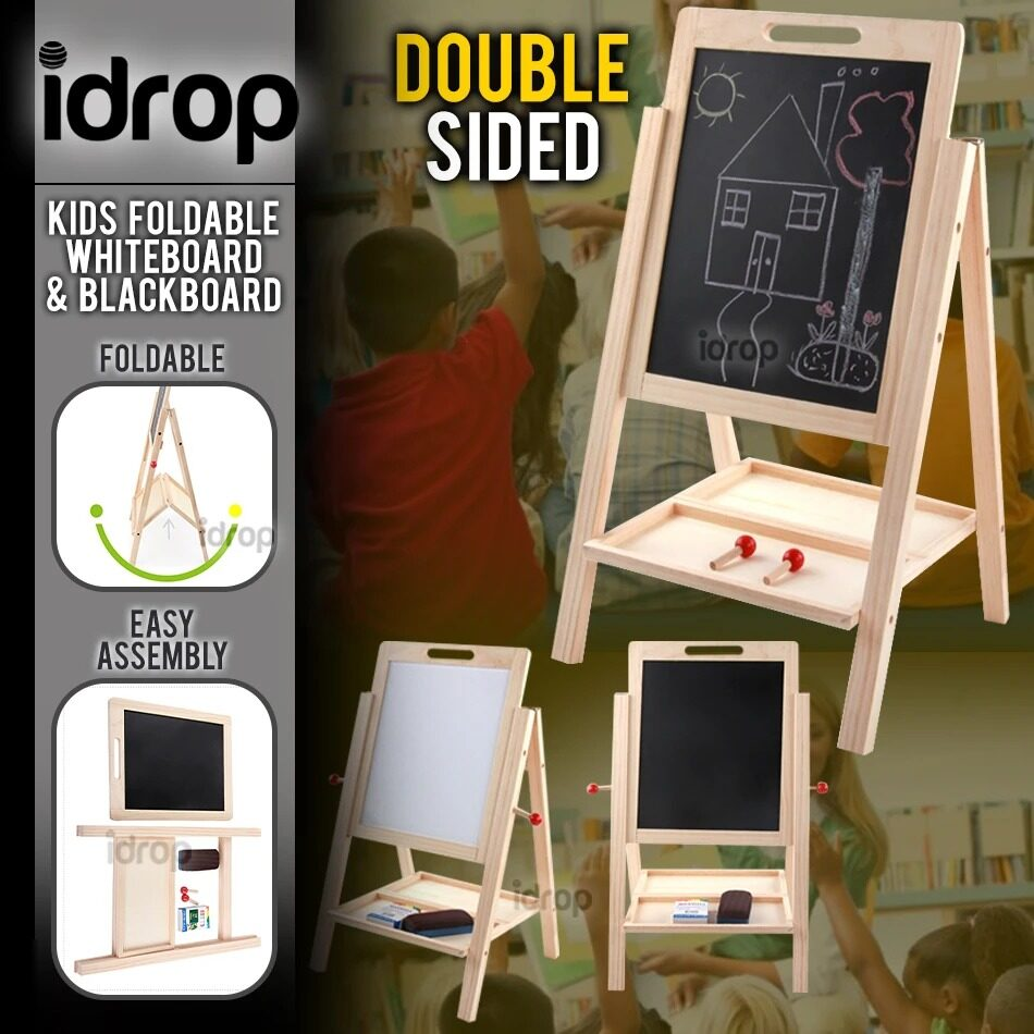 idrop Double Sided Wooden Magnetic Educational Black Board / White Board For Kids And Children -
