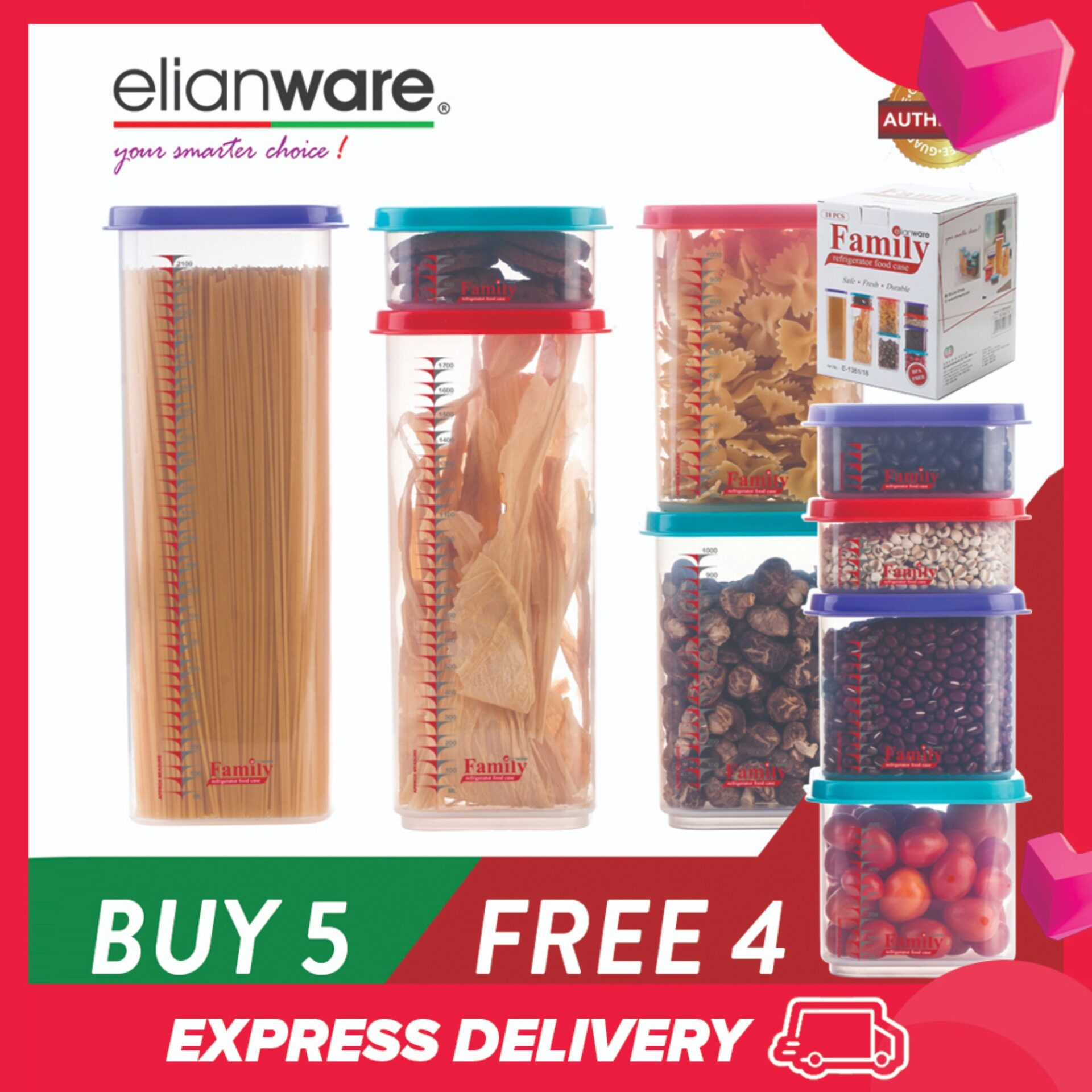 Elianware (BUY 5 FREE 4) Best Quality Stackable Family Storage Container Bekas Kuih Raya