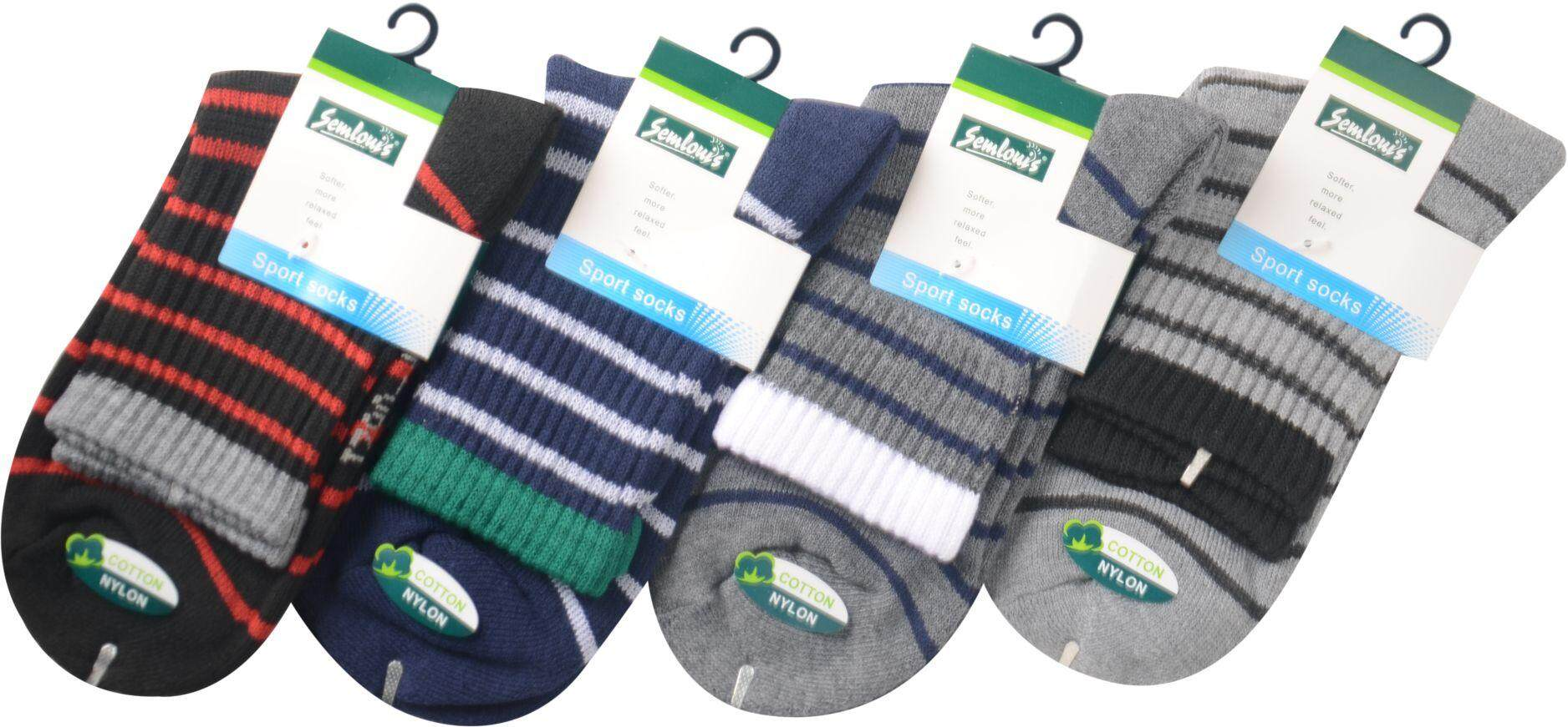 Semlouis Sport Ankle Cushion Base Socks - Coloured Lines / PAIR