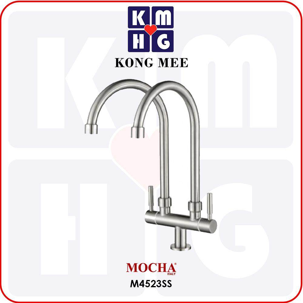 Mocha Italy - Pillar-Mounted Double Tap (Counter-top Basin Faucet) (M4123SS)  High Quality Premium Pipe Kitchen Top Counter Home Restaurant Wash Dishes Cooking Luxury
