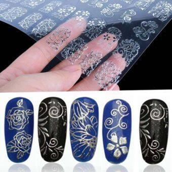 2Sets 108Pcs DIY Decoration Tools 3D Silver Flower Nail ArtStickers Decals Stamping