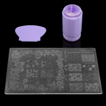 DIY Nail Art Stamping Stamper Kit With Image Plate & ScraperManicure Tool Set-Purple