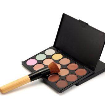 Sinma 15 Colour Face Cream Makeup Concealer Palette Foundation With Powder Brush Set
