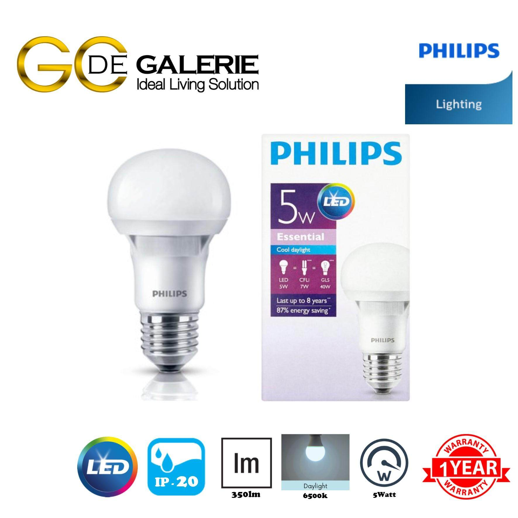 PHILIPS 5W ESSENTIAL LED BULB - 6500K COOL DAYLIGHT E27