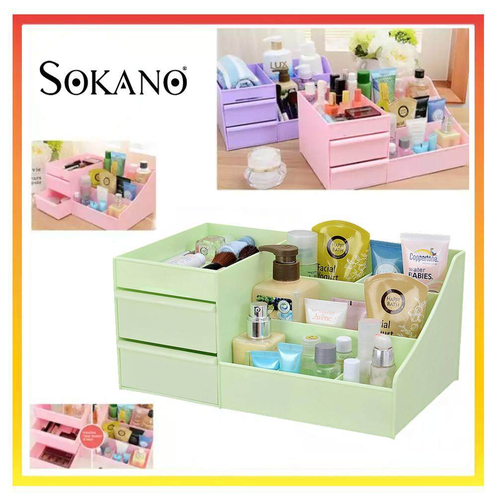SOKANO 1341 Large Capacity Cosmetic and Table Top Organizer With Drawers