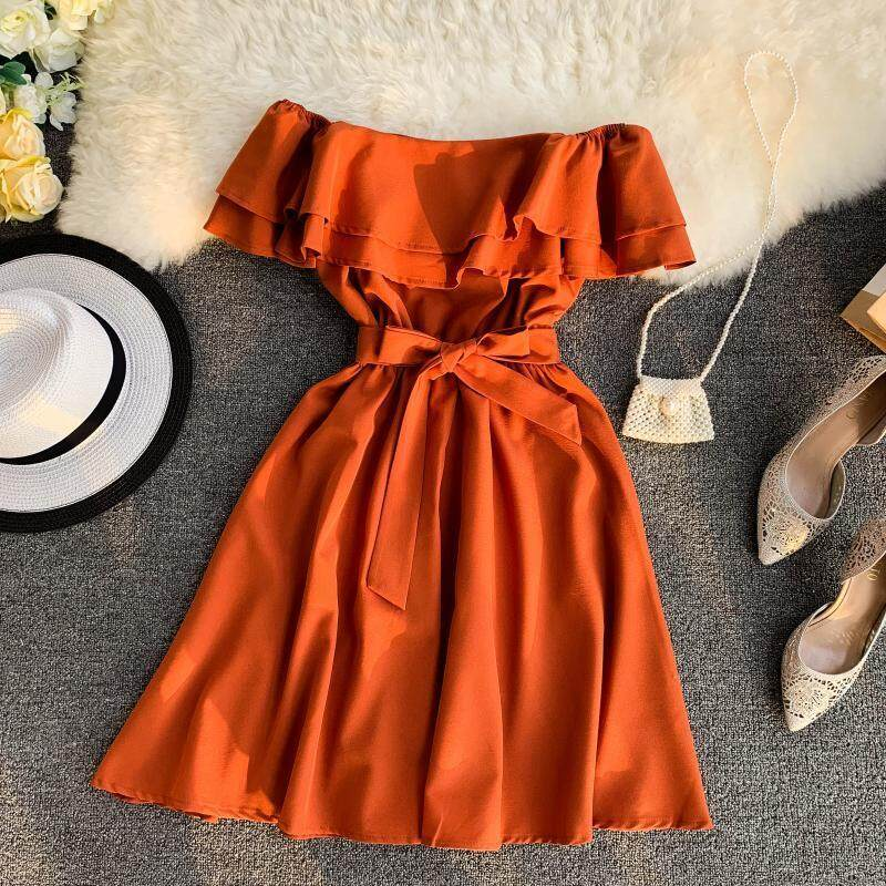 ?PRE-ORDER 21 DAYS?Solid color double-layer ruffled word collar off shoulder chest strap waist dress
