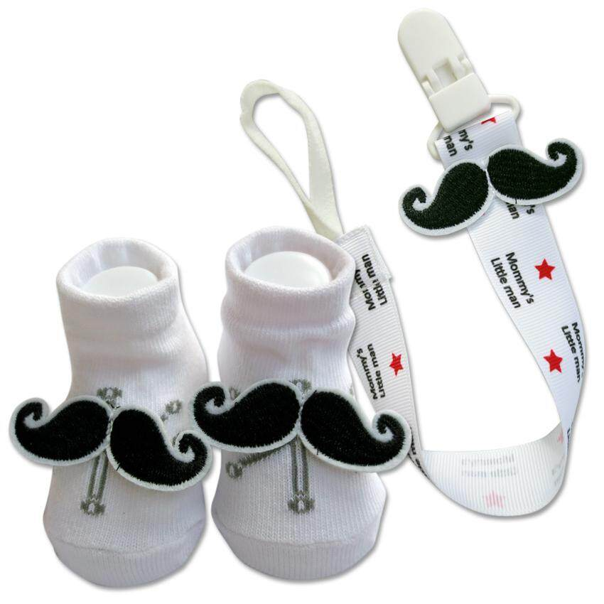 Bumble Bee Baby Pacifier Clip with Socks Set (Moustache)