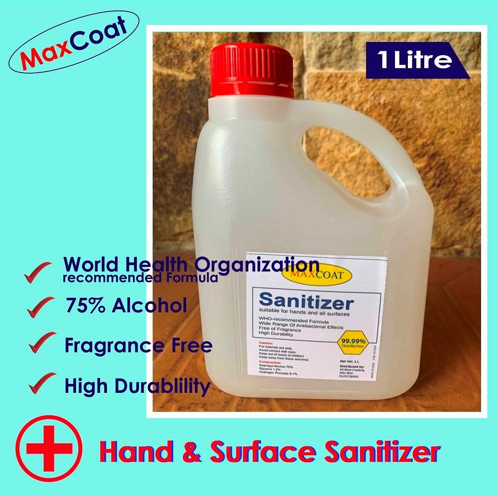 READY STOCK !!! Hand Sanitizer 75% Alcohol 1 Litre [1000ml]  - MAXCOAT Handrub Instant [WHO Recommended Formula] 1 Liter