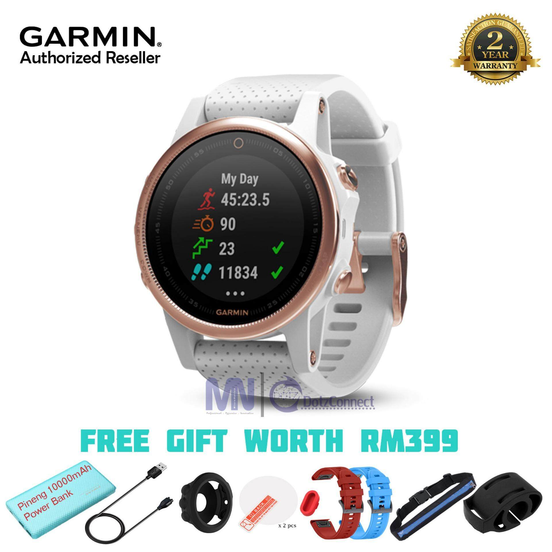 Garmin Fenix 5S Sapphire Rose Gold Tone multisport GPS watch with Elevate™ wrist heart rate technology