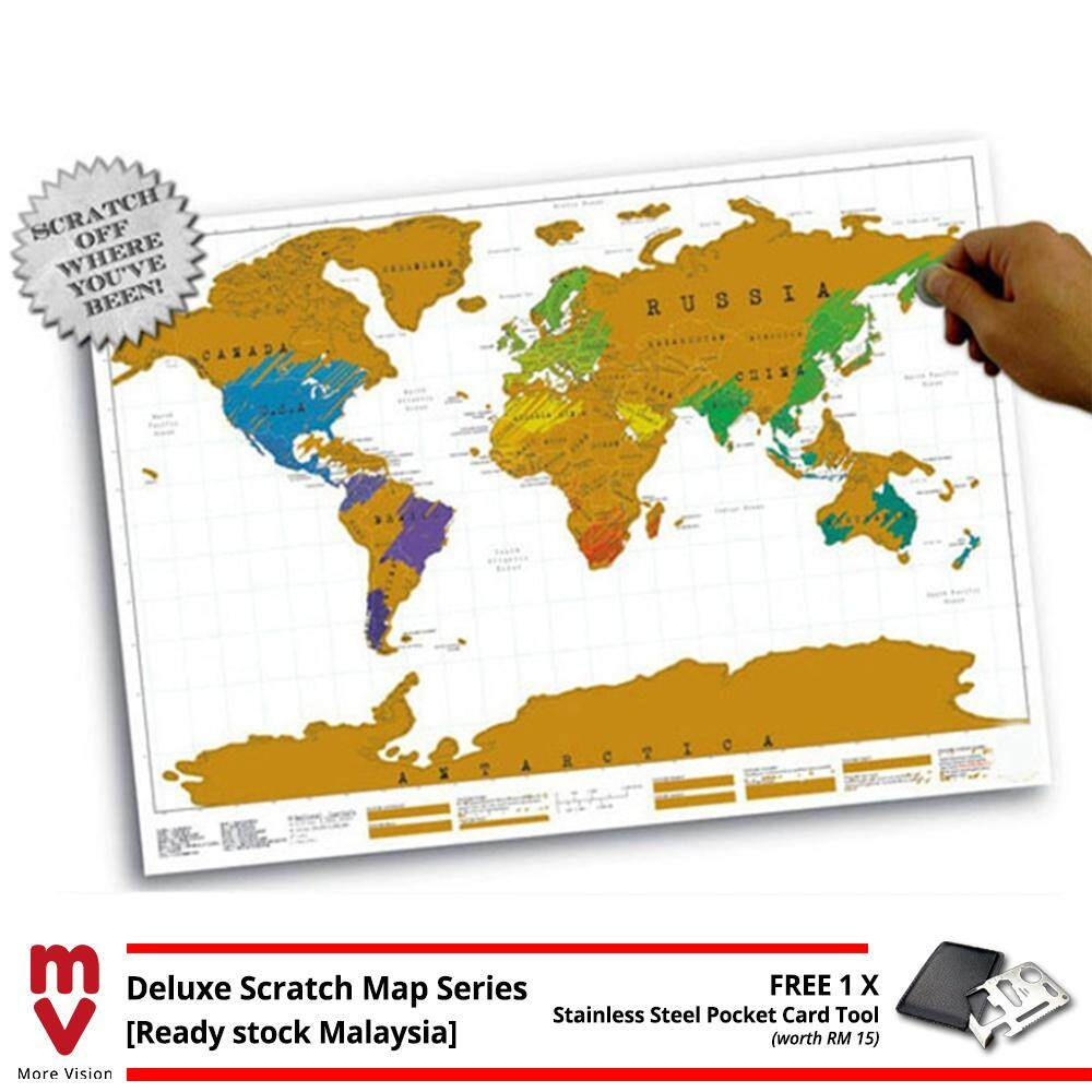 [Ready Stock+Free Gift] Scratch Off Large Deluxe World Map Personalized Travel Colorful Wall Poster Gift Red Black Capital City Edition 82.5 x 59.4cm High Quality