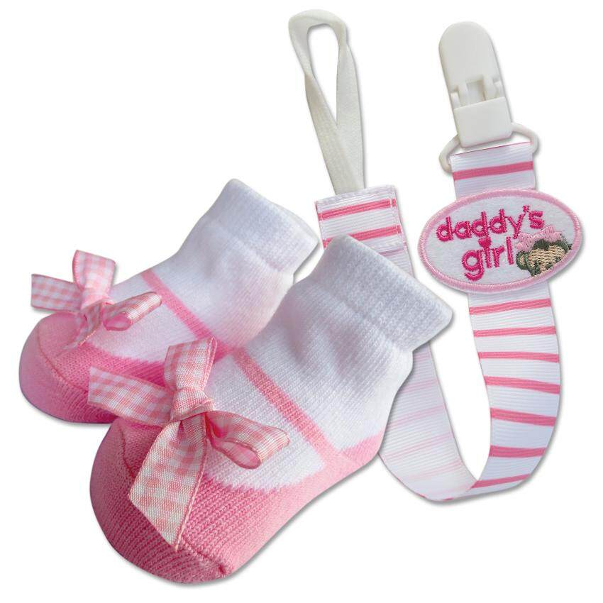 Bumble Bee Baby Pacifier Clip with Socks Set (Daddy's Girl)