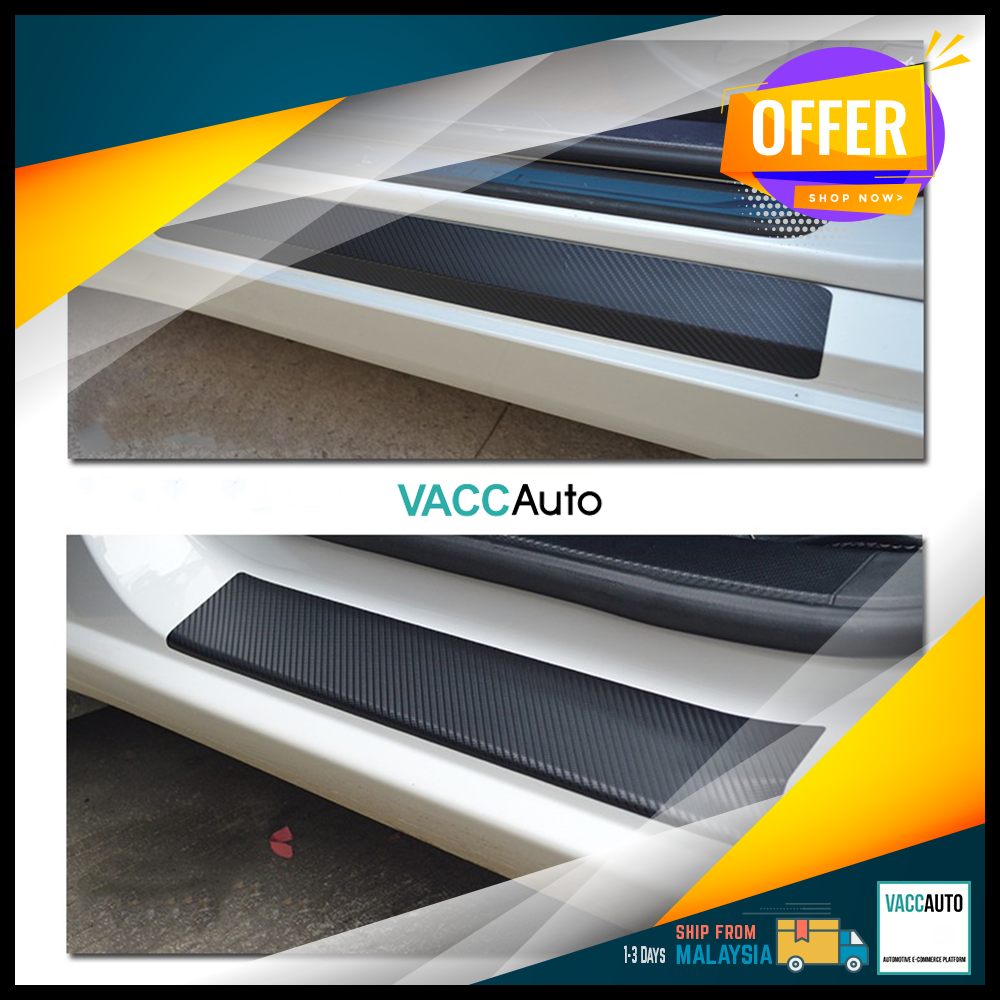 Car Side Step / Scuff Plate Protector Sticker - Carbon Vacc Auto Car Accessories Exterior Car Body Protection