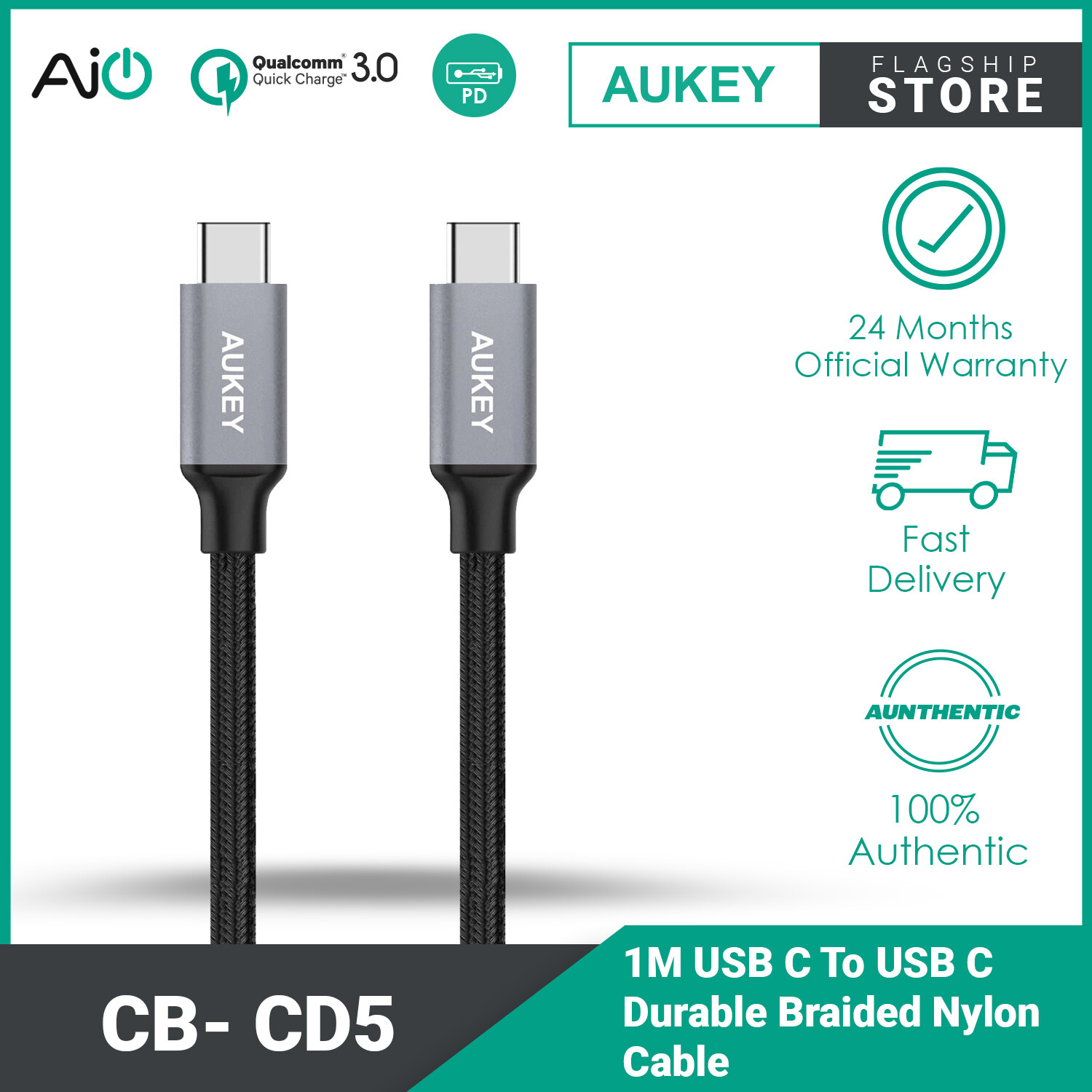 AUKEY CB-CD5 USB C To USB C Durable Braided Nylon Type C Cable - 1 meter