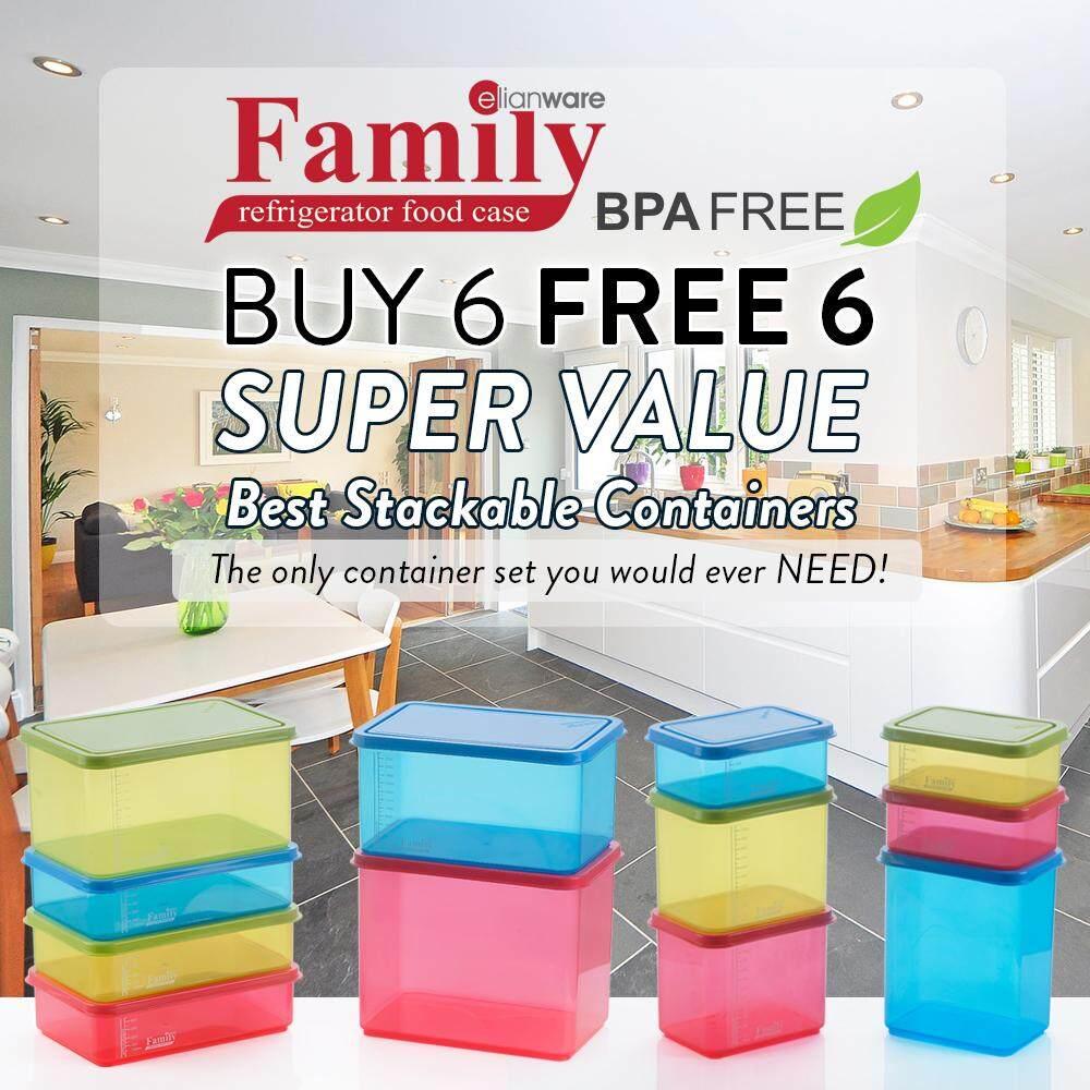 Elianware (BUY 6 FREE 6) BPA FREE Food Containers Family Set Bekas Kuih Raya