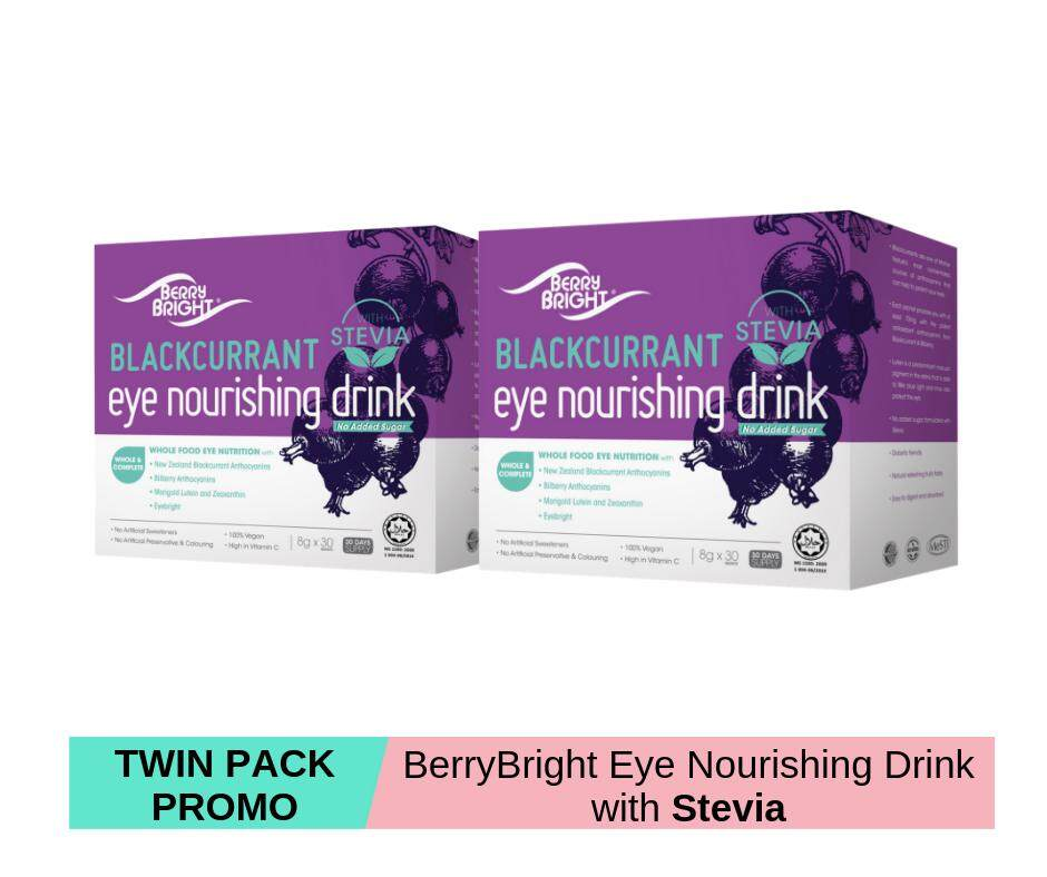 Berry Bright Eye Nourishing Drink with Stevia, 30 Sachets x 2 (60-Day Supply) Natural Healthy Vision Supplement with Lutein Zeaxanthin Anthocyanin Eyebright High Vitamin C