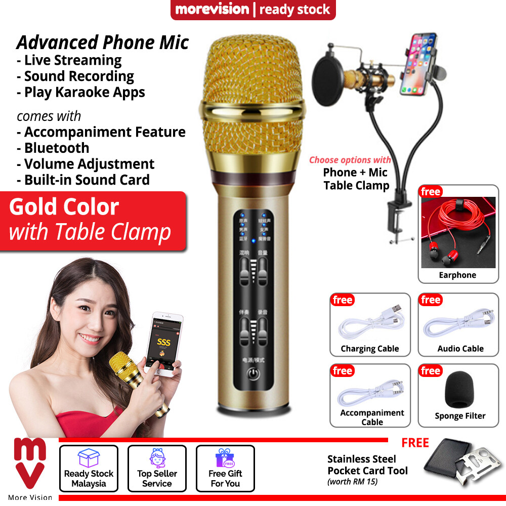 Phone Mic Live Streaming Microphone Built-in Sound Card Mixer for Android Apple IOS Bluetooth Smartphone With Table Clamp-Color:Gold