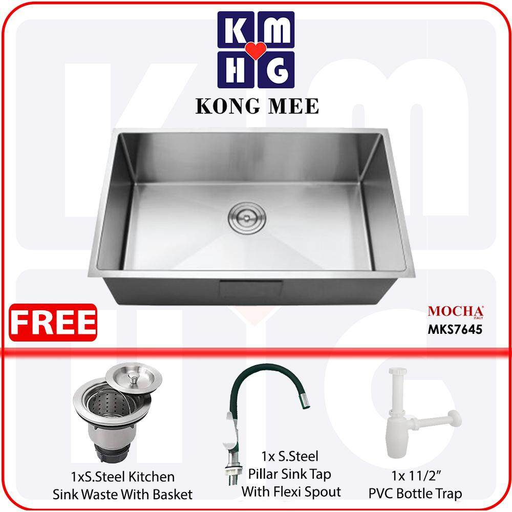 Mocha Italy - Handmade Undermount Kitchen Sink (Stainless Steel 304) (MKS7645)  High Quality Premium Home Restaurant Wash Dishes Luxury