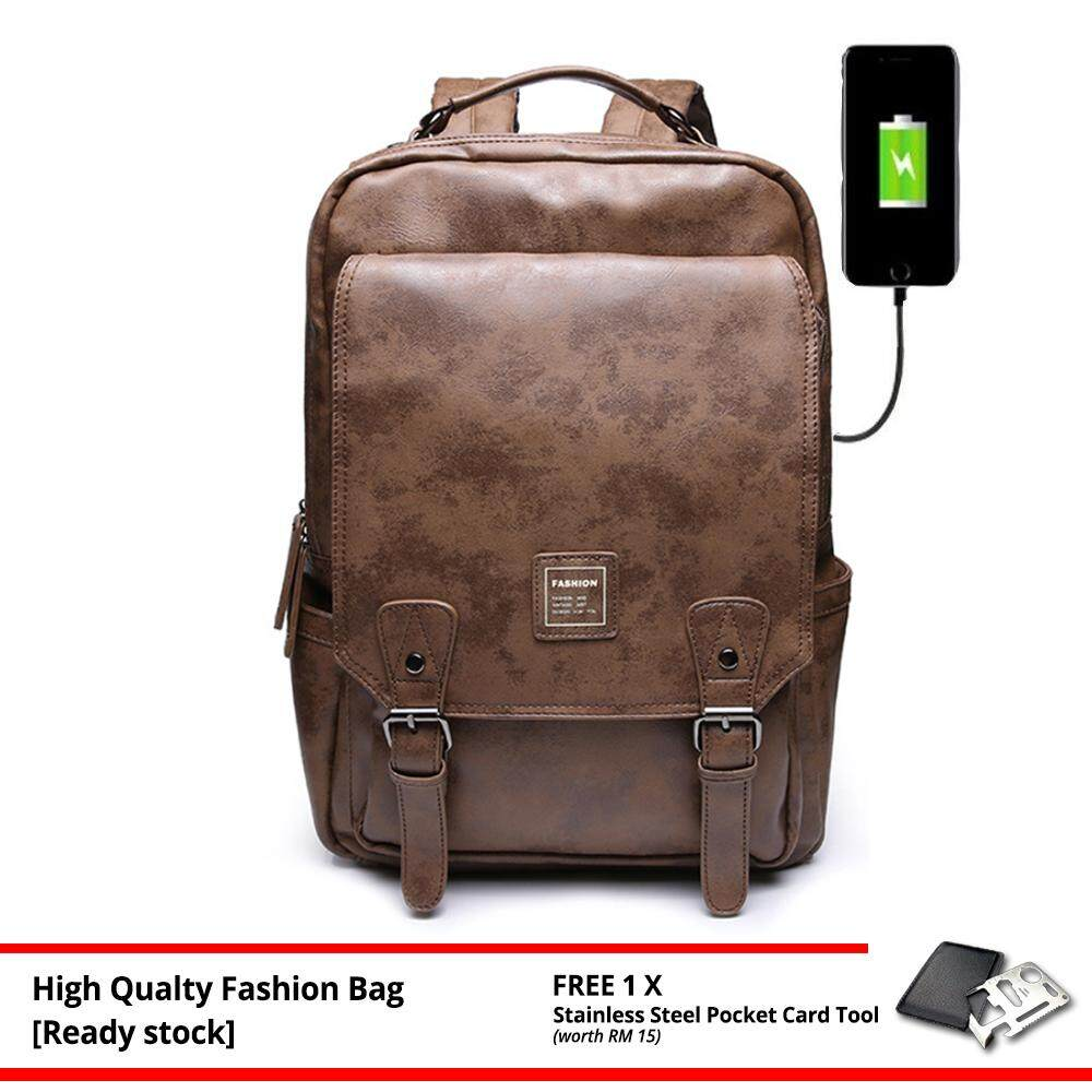 MV Bag Leather Backpack Trendy Laptop Beg Casual Canvas Waterproof Travel Brown Stylish Outfit Design MI4751