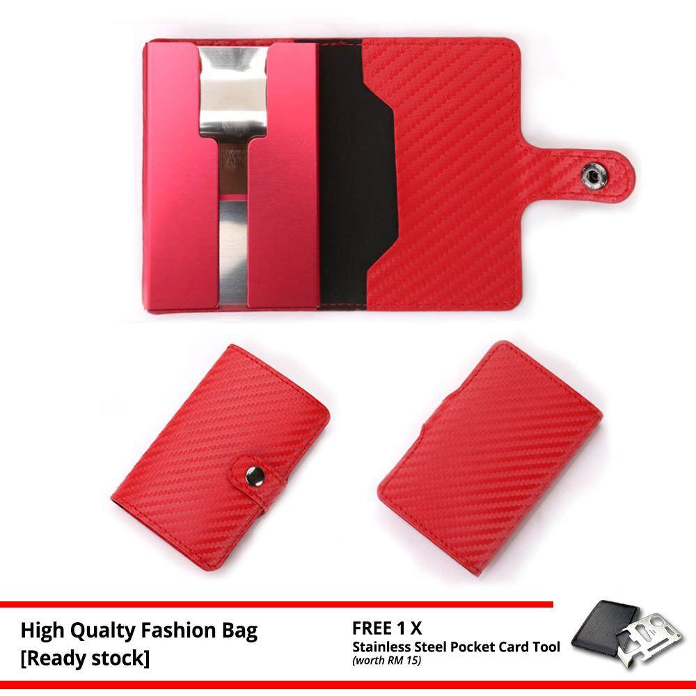 Slim Carbon Fiber Credit Card Holder RFID Non-scan Metal Simple Wallet Money Case Card Organizer MI3185