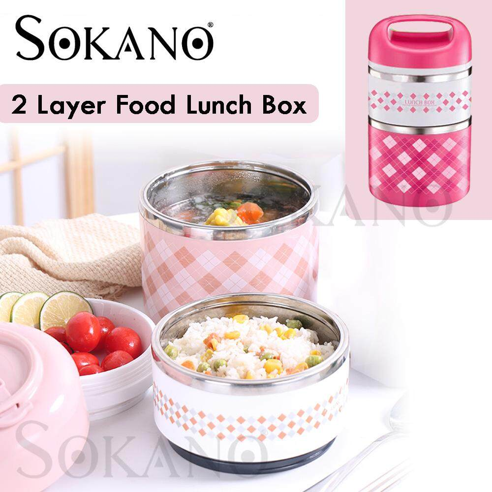 SOKANO KW047 2 Layer Colourful Stainless Steel Lunch Box Food Storage Large Dual Layer Food Container Thermal Lunch Box Kotak Makanan