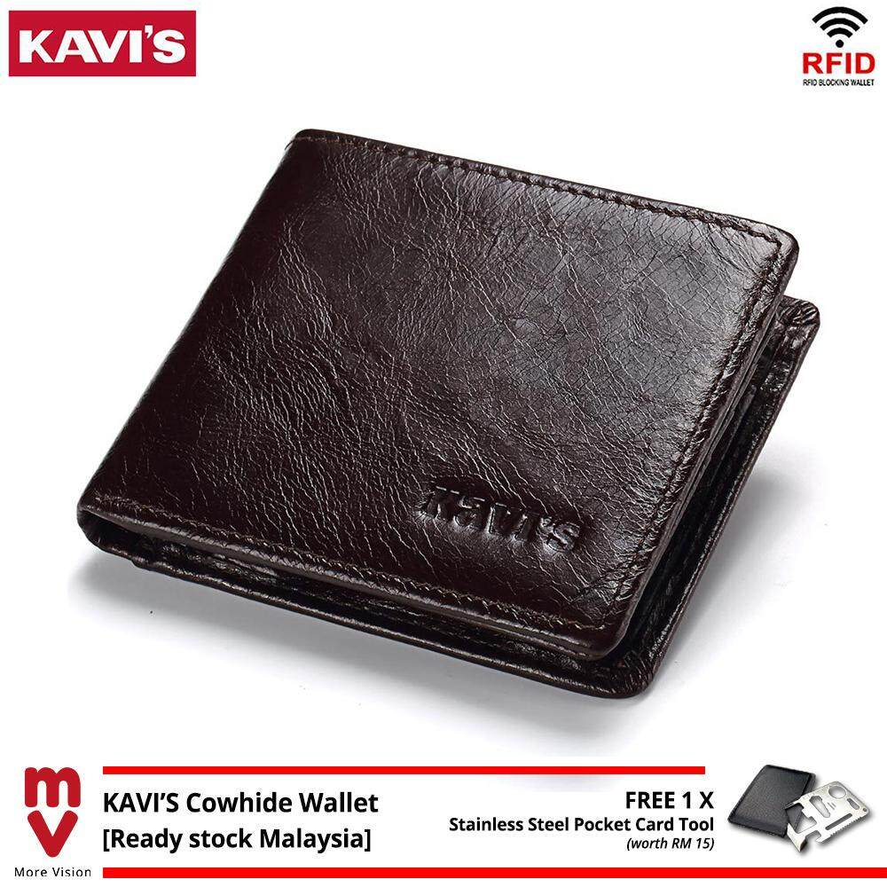 KAVIS Genuine Cowhide Leather Wallet with RFID Blocking Casual Men Italy Fashion Inner Card Slots Coin Purse MI5181