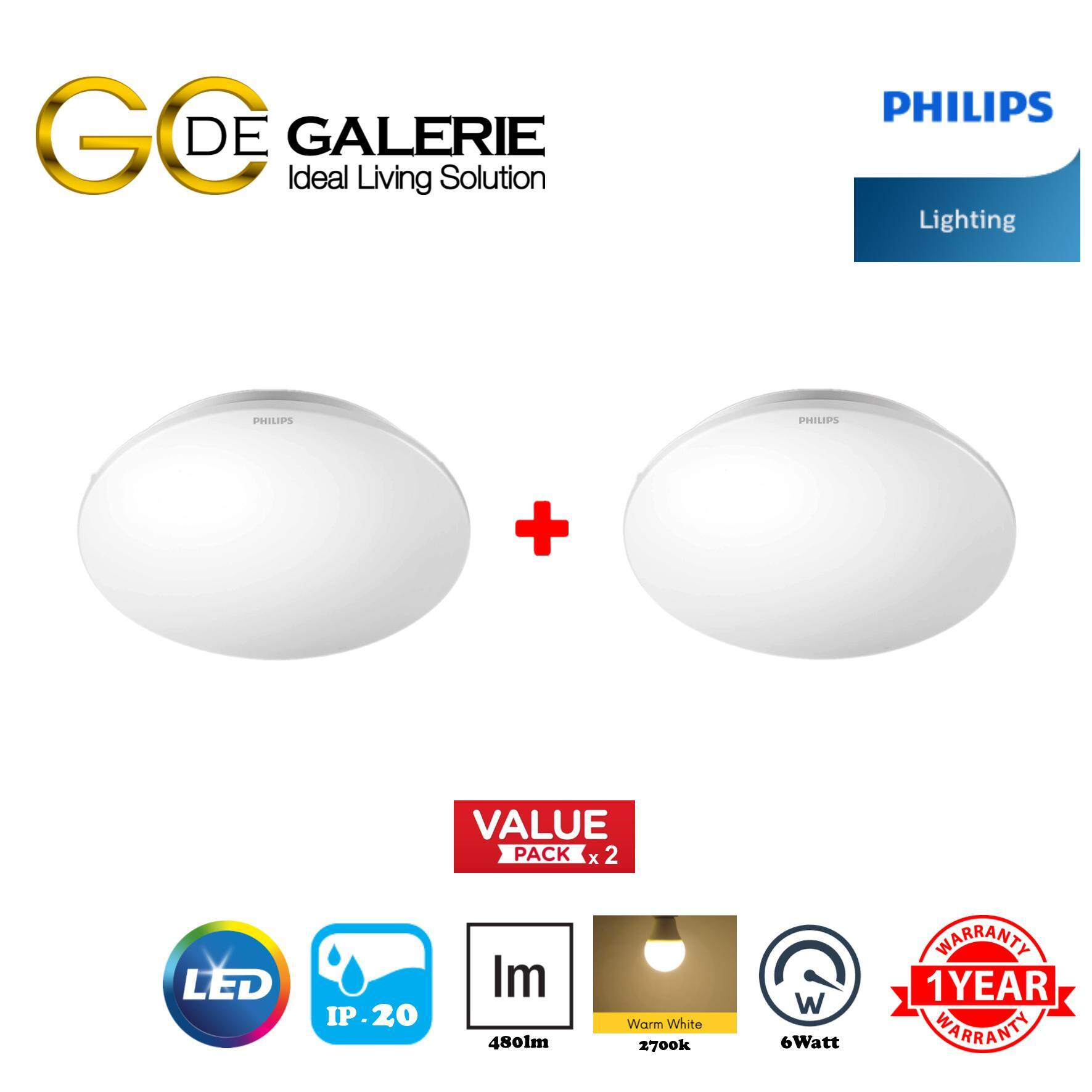 CEILING LIGHT LED PHILIPS MOIRE 33361 6W 27K WH (2 PACK)