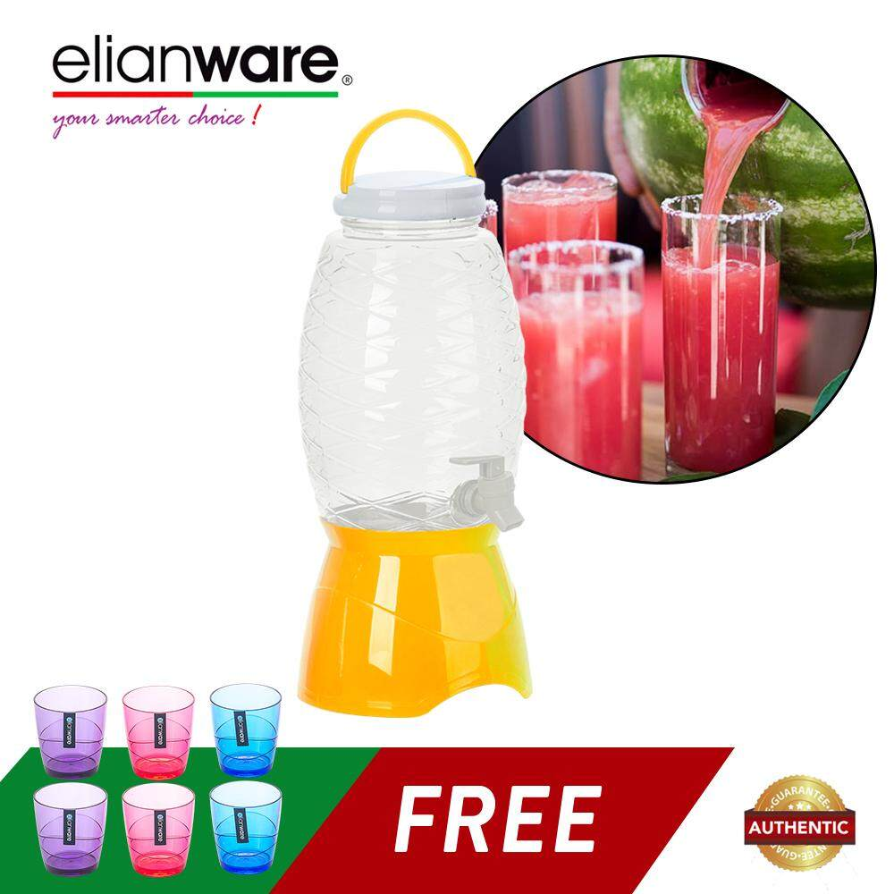Elianware 4.5Ltr No Leak Water Dispenser FREE 6 Pcs 220ml Colourful Modern Drinking Cup Set