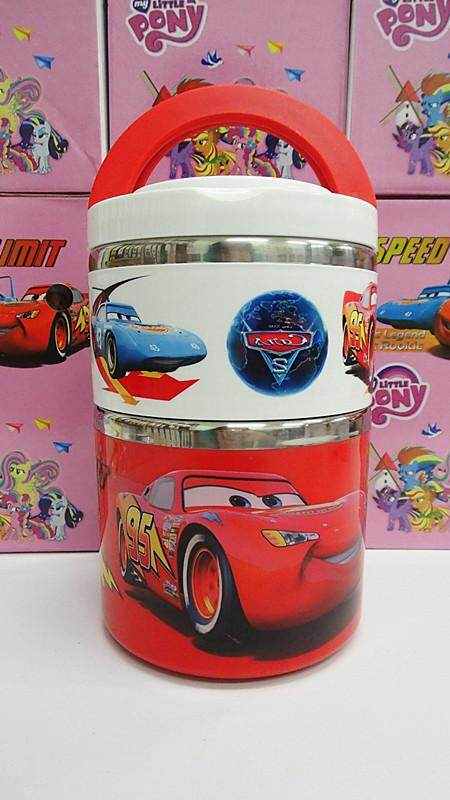 [Ready Stock] 2 Layer Stainless Steel Cartoon Lunch Box (BGJAYA)-McQueen Cars