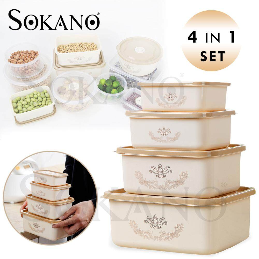 SOKANO 4 in 1 Set Flower Print Bowls Set Food Container with Lids Bekas Makanan (Microwaveable and Frozenable)