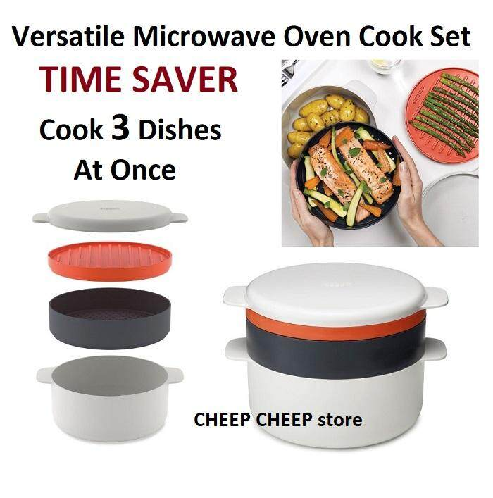 M-Cuisine Microwave 4 Piece Versatile Stackable Cookware Cooking Set Pot Steamer Griddle – Cook 3 Dishes In One Go Microwave Cooker