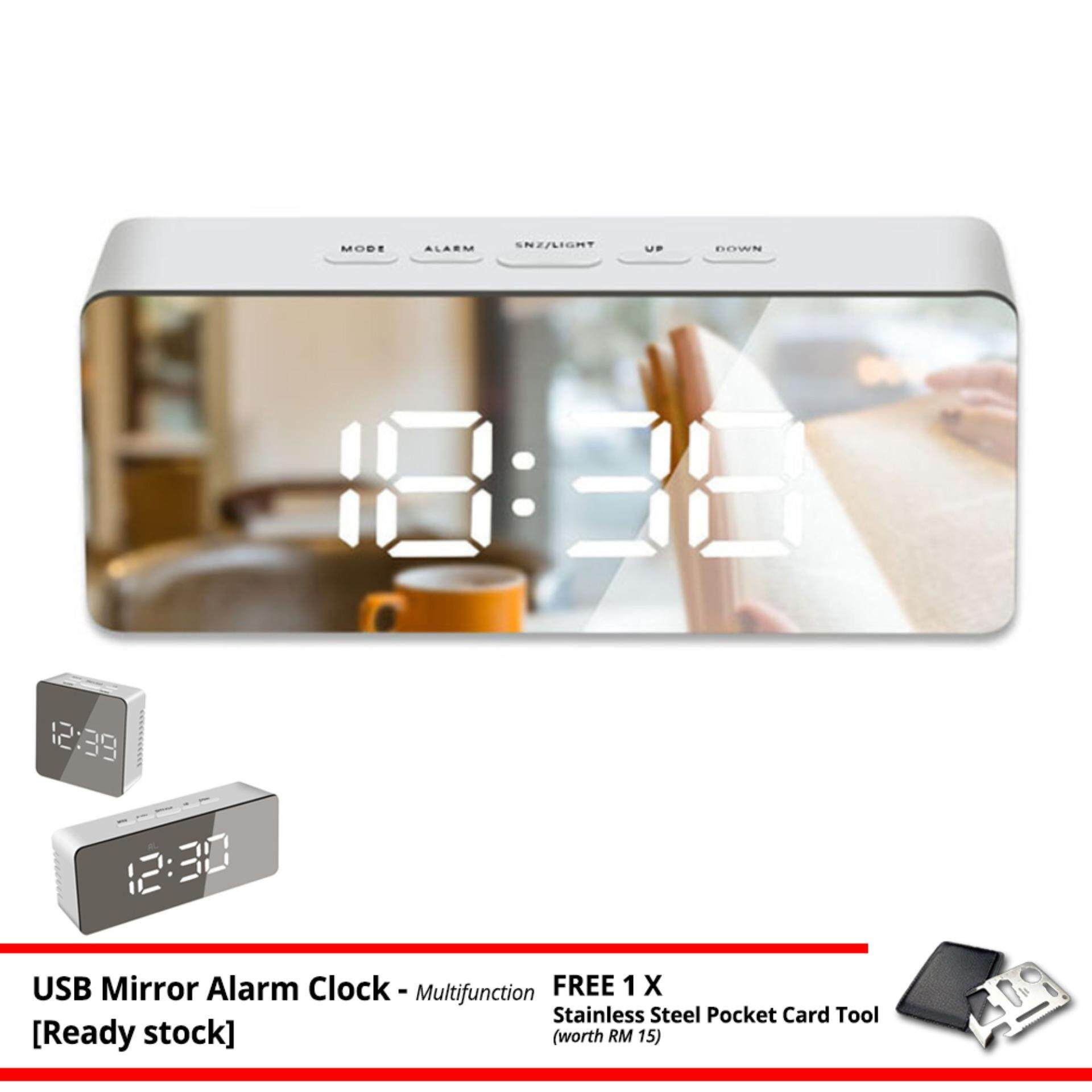 Mirror LED Time Display Light Night Digital USB Desk Table Alarm Clock Temperature