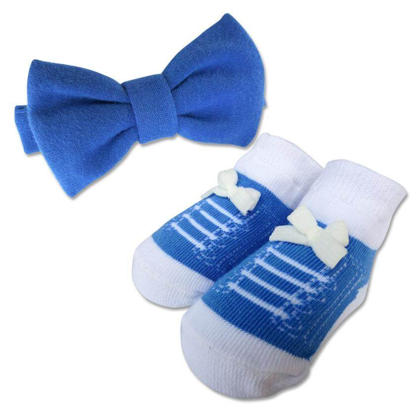 Bumble Bee Baby Bow Tie with Socks Set (Blue)