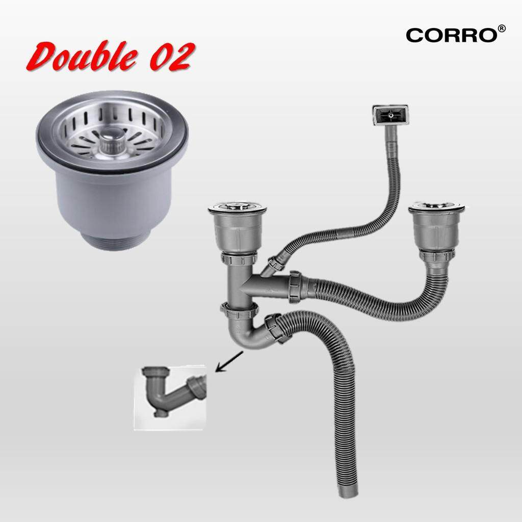 CORRO Single / Double Bowl Sink Waste With Over Flow Bottom Trap Drainner