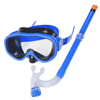 Children Swim Swimming Goggle Diving Mask Glasses with Semi-drySnorkel Scuba Diving Equipment Set for 8-16 Ages Kids Dark-blue