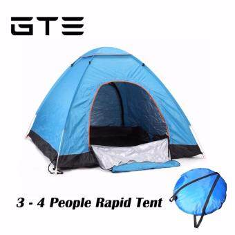 GTE Quick Automatic Opening Ultralight Tents Outdoor 3-4 Person Waterproof Tourist Camping Tent - Light Blue
