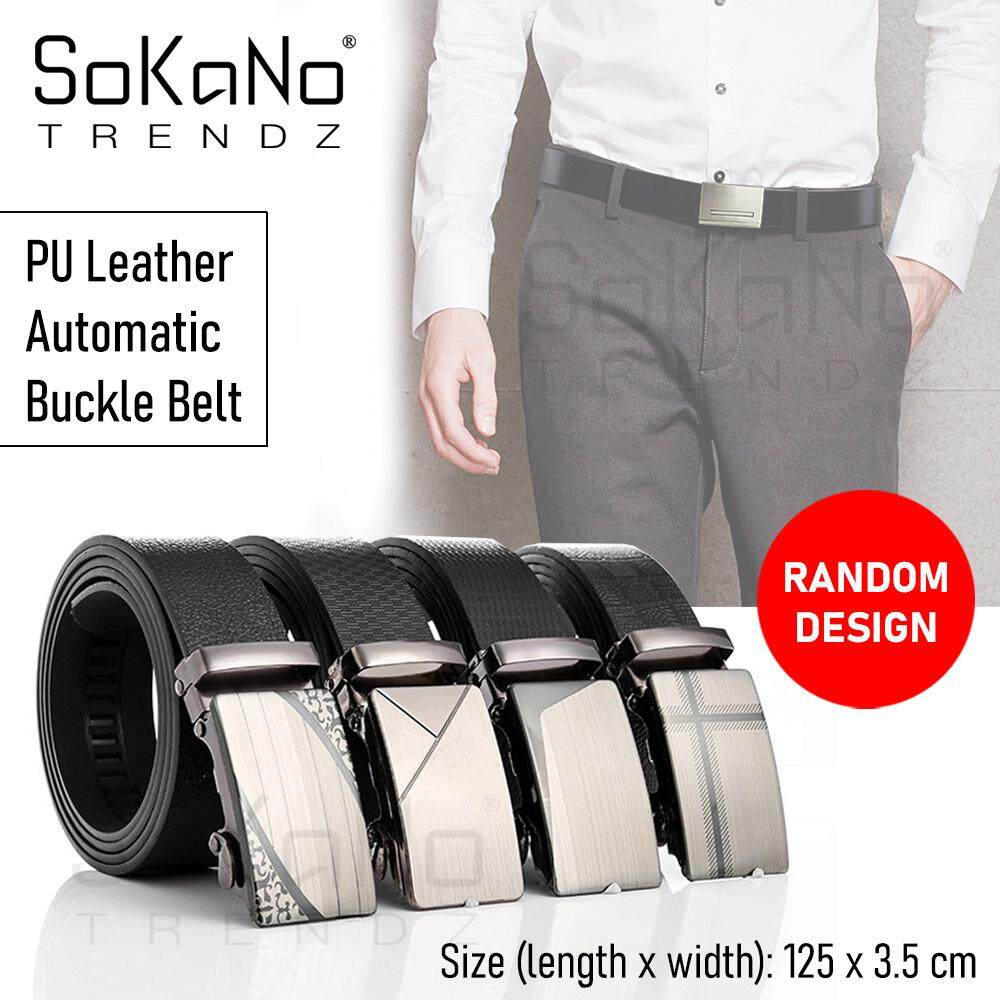 SoKaNo Trendz Men Formal PU Leather Automatic Buckle Belt Tali Pinggang (Random Design Random Colour)