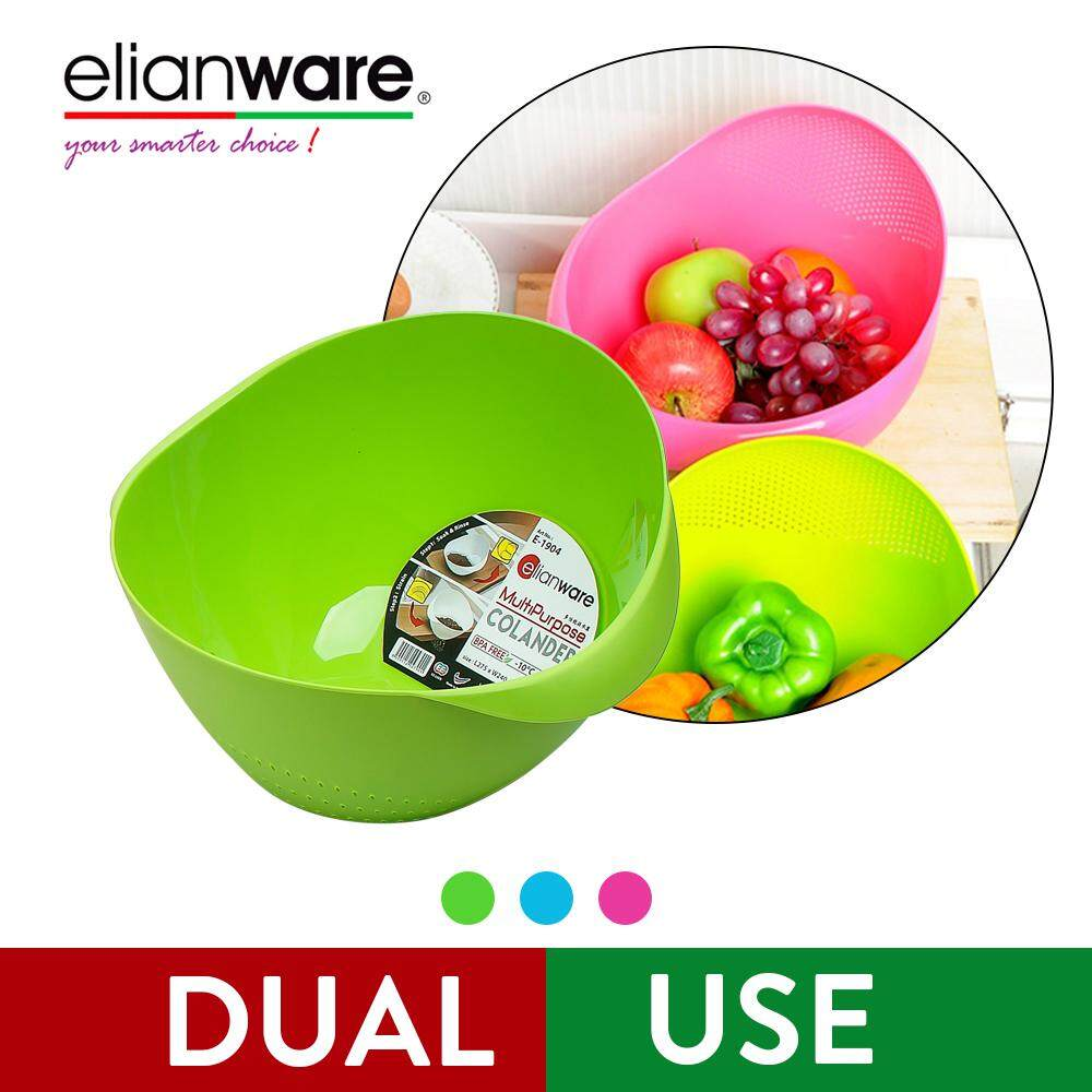 Elianware Dual Use BPA Free Multipurpose Kitchen Fruit Vegetable Rice Strainer Colander