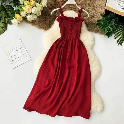 ?PRE-ORDER 21 DAYS?Single-breasted stretch pleated tube top strap long dress