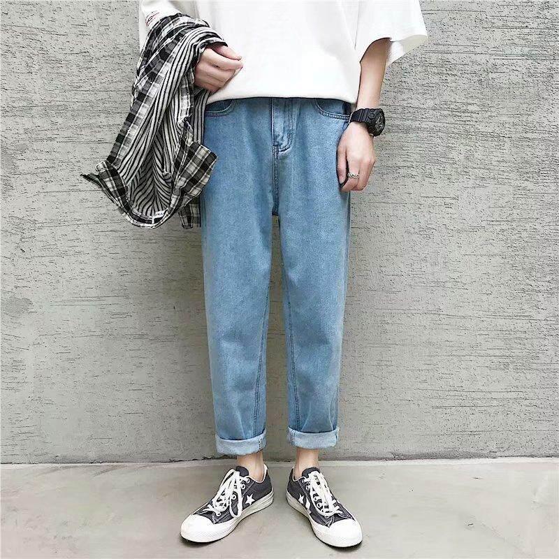 Quần jean nam phong cách Hàn Quốc quần thẳng bán hot Fnnka