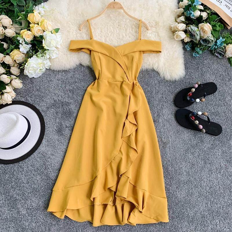 ?PRE-ORDER 21 DAYS? Open back sling waist irregular ruffled midi dress