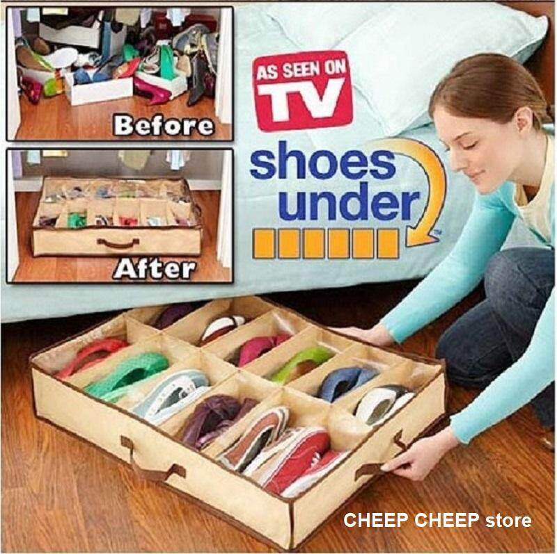 Shoes Organizer – Space Saving Shoe Organizer Multi Function Dust-Proof Durable Toys Underwear Storage Box  See Through Cover Zipper Cupboard Top Under Bed